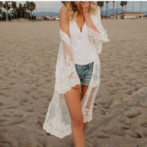 ⭐️NEW⭐️Lace Boho Coverup Duster - WHITE COLOR